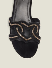 Heart Goatskin Suede Sandals : Shoes color Black