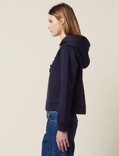 Hooded Sweatshirt With Braid Trim Zip : Sweaters color Navy Blue