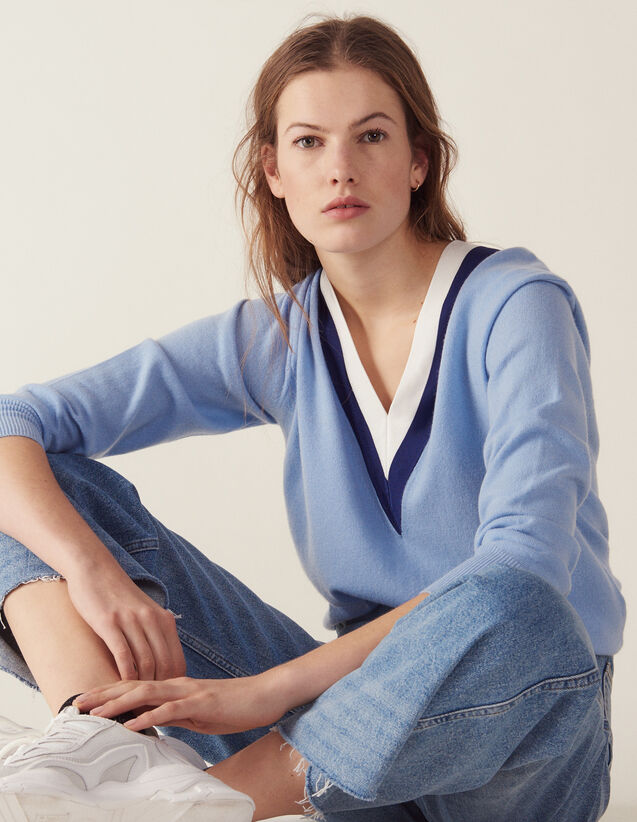 V-Neck Sweater With Two-Tone Edging : Sweaters color Sky Blue