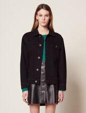 Boyfriend Fit Denim Jacket With Patch : Coats & Jackets color Black