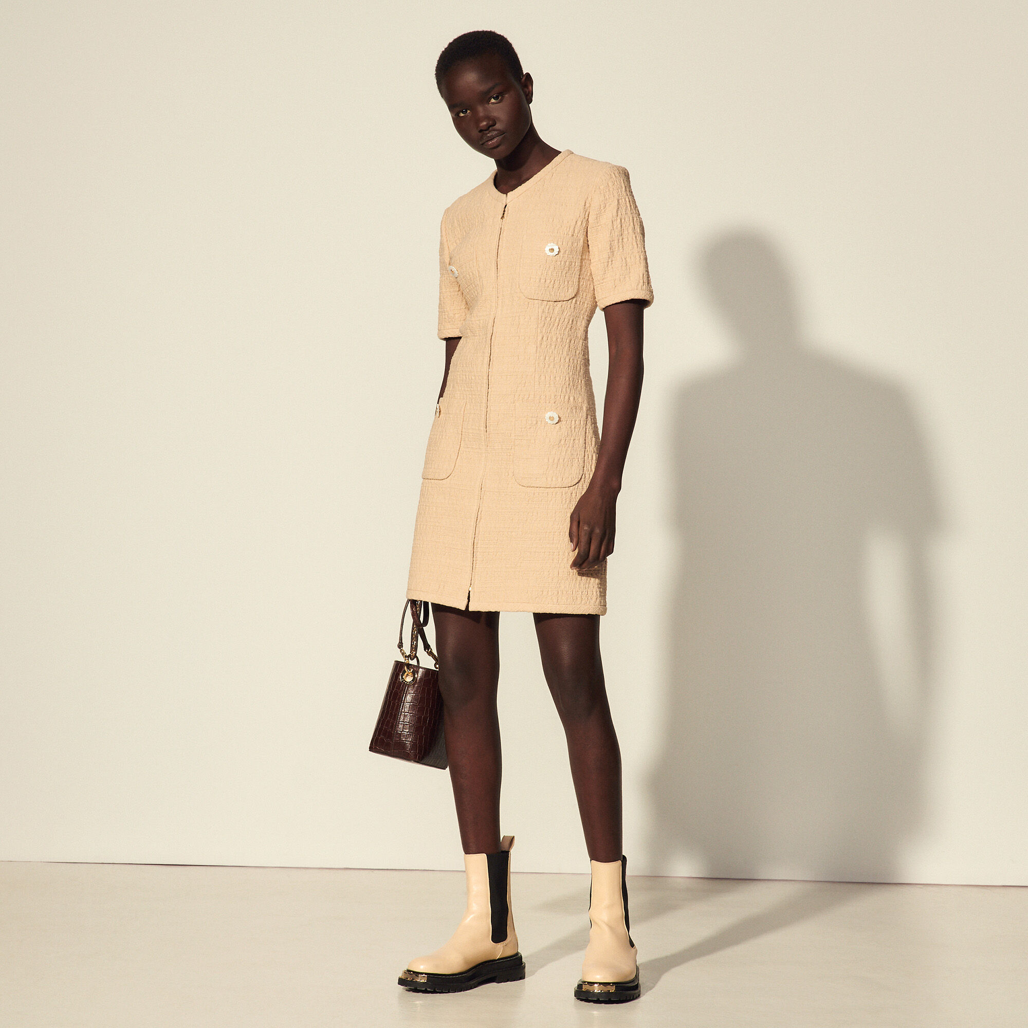 Sandro Multi-pocket dress with fancy buttons