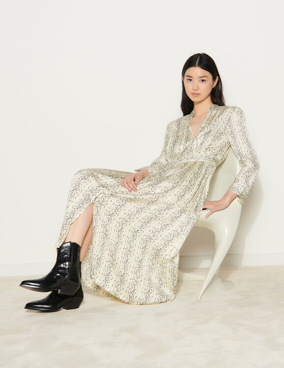 Sandro Long printed dress with long sleeves
