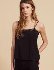 Tone-On-Tone Jacquard Lingerie Top : Tops & Shirts color Black