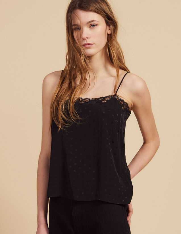 Tone-On-Tone Jacquard Lingerie Top : Tops & Shirts color Black