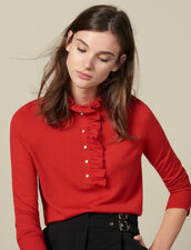 Sweater With Tulle At The Collar : Sweaters & Cardigans color Red