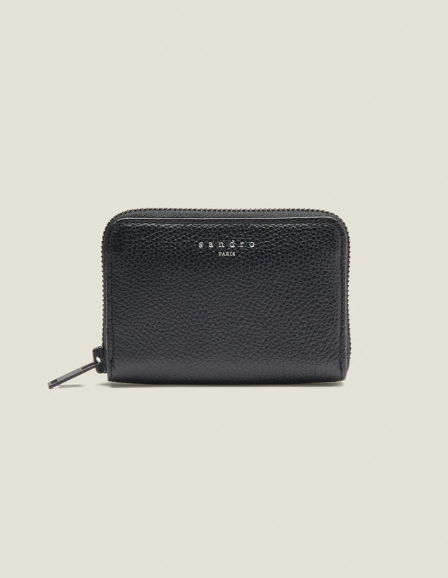 Zipped Card Holder : Leather Goods color Black