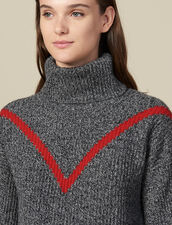 Roll Neck Marled Knit Sweater : Sweaters color Grey