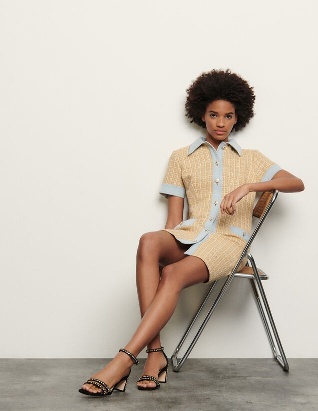 Fancy tweed and denim dress : Spring Pre-Collection color Beige