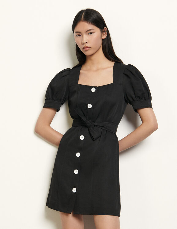 Short linen blend dress : Dresses color Black