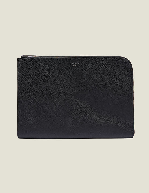 Saffiano Leather Zipped Document Case : Leather Goods color Black