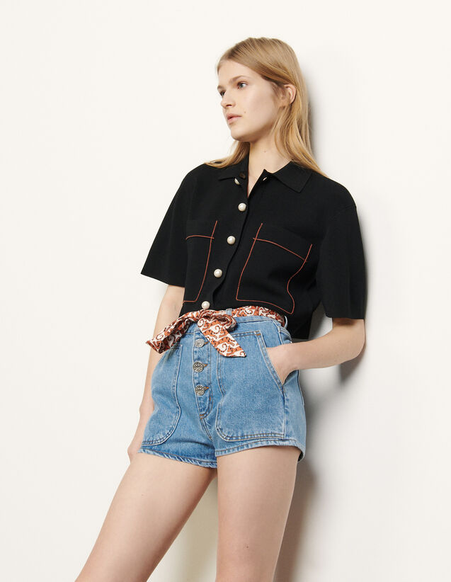 Denim shorts with removable belt : Spring Pre-Collection color Blue Jean