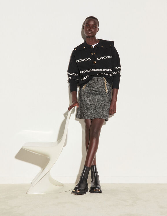 Sandro Short tweed skirt with chain trim