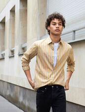 Striped Cotton Shirt : Shirts color Beige/White