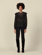 Lurex patterned top : Tops & Shirts color Black