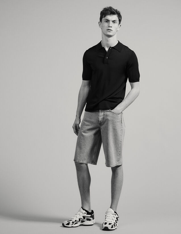 Fine knit polo shirt with short sleeves : T-shirts & Polos color Navy Blue