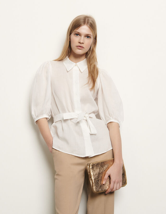 Shirt with removable belt : Spring Pre-Collection color Ecru