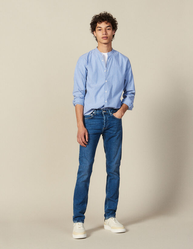 Striped Shirt With Mandarin Collar : New Collection color Blue/white