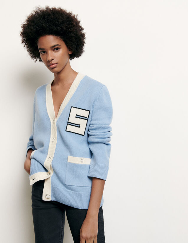 Varsity-style wool cardigan : Spring Pre-Collection color Blue sky