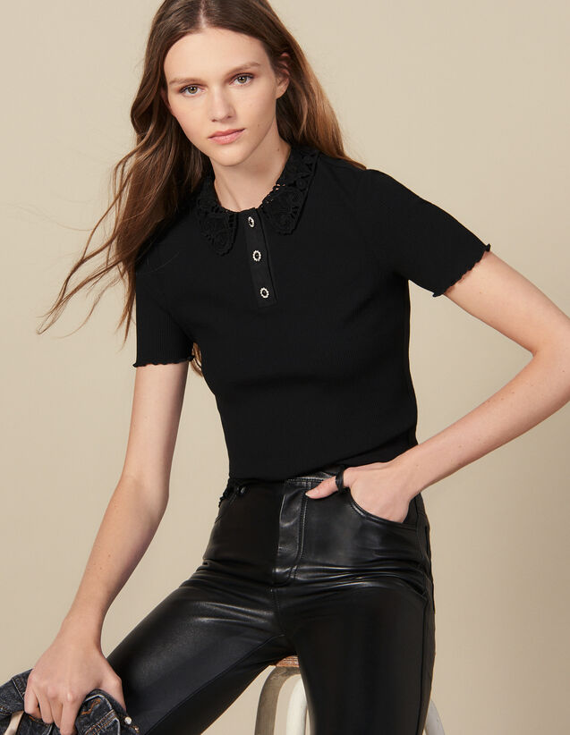 Ribbed polo shirt with lace collar : Tops & Shirts color Black