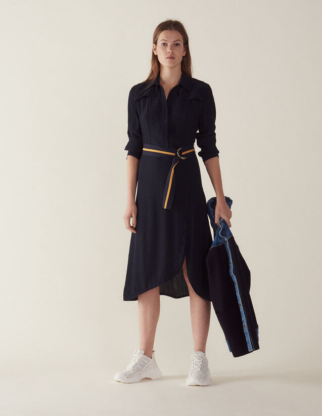 Long Shirt Dress : Dresses color Navy Blue