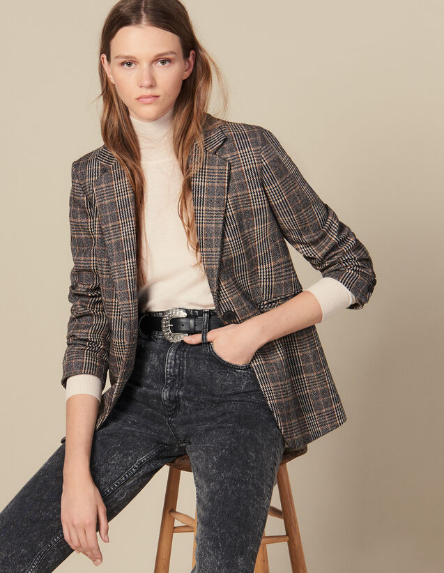 Checked Wool Blazer : Jackets color Camel