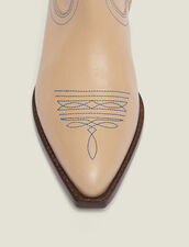 Embroidered Leather Cowboy Boots : Shoes color Sand