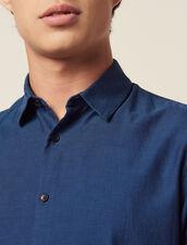 Shirt in tone-on-tone herringbone fabric : Shirts color Blue