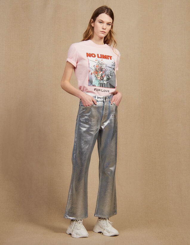 High-Waisted Coated Flared Jeans : Jeans color Silver