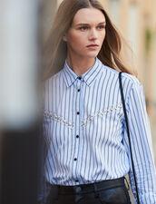 Striped Poplin Shirt : Tops & Shirts color Blue sky