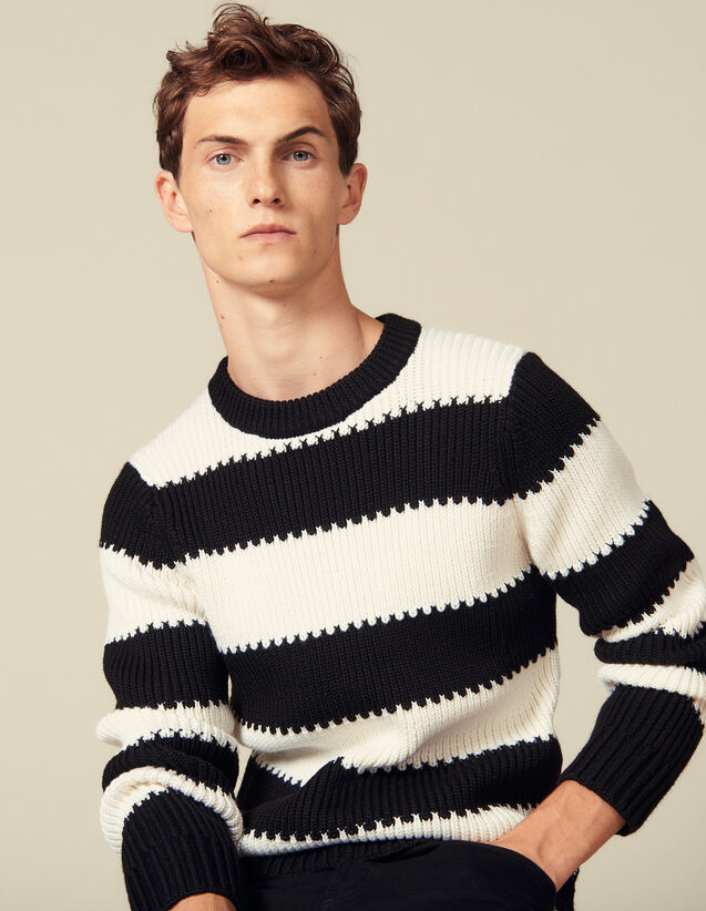 Striped knitted sweater with beads : Sweaters color Ecru/Black