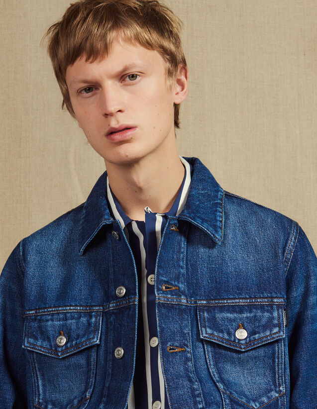 Washed Denim Jacket : Jackets color Blue Vintage - Denim