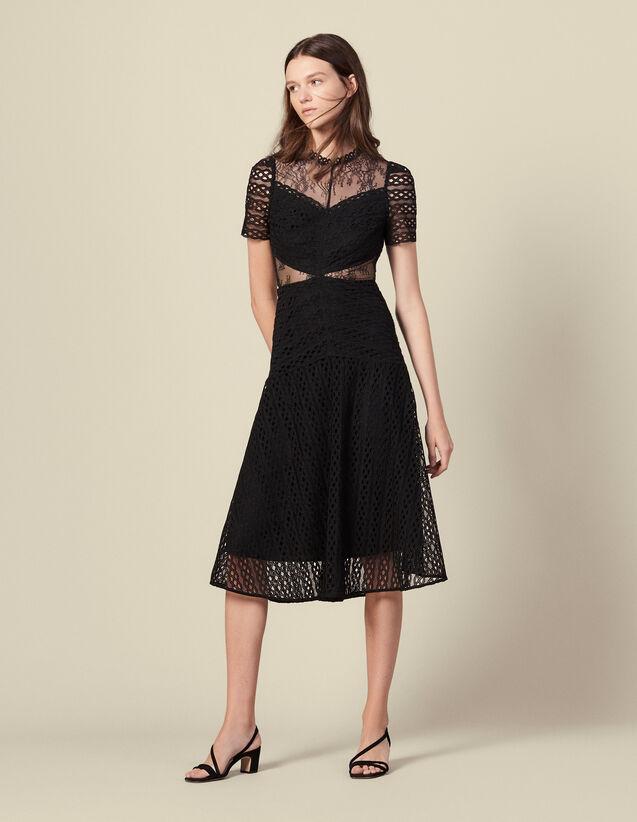 Long guipure lace dress : Dresses color Black
