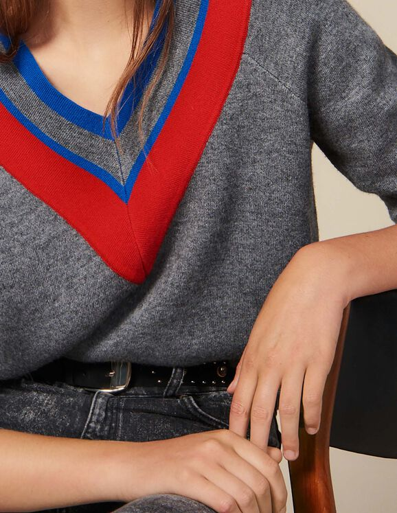 Low-Neck Sweater With Braid Trim : Sweaters color Grey