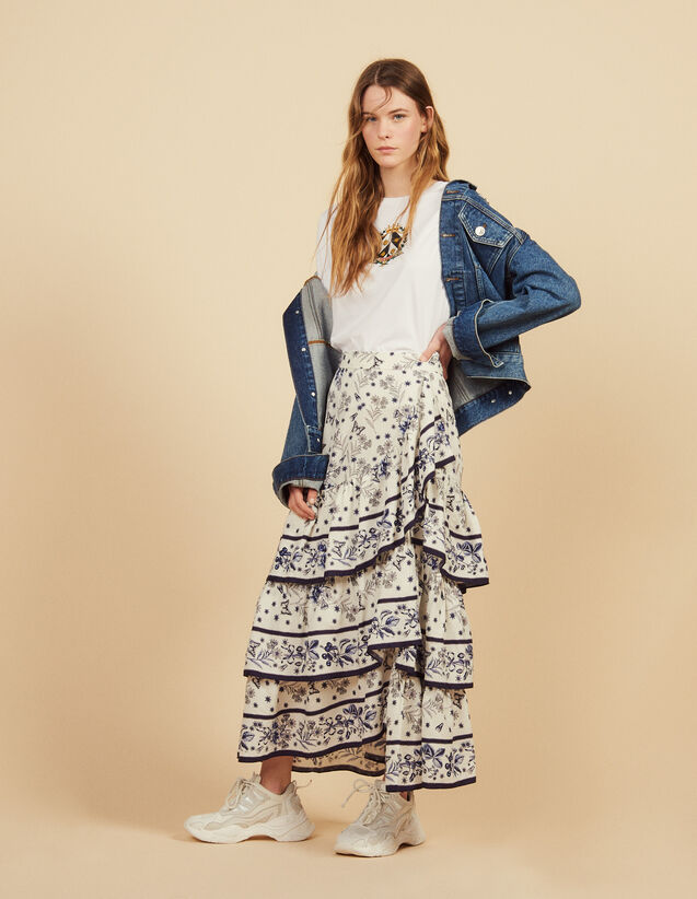 Long Printed Ruffled Skirt : Skirts color Multi-Color