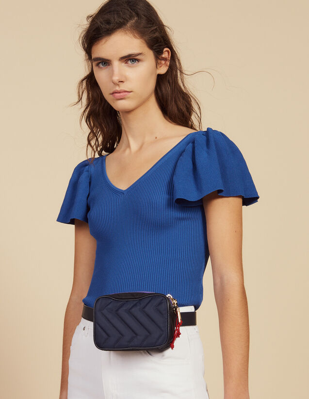 Fitted Knit Top : Sweaters color Blue