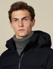 Long padded jacket with hood : Coats color Navy Blue