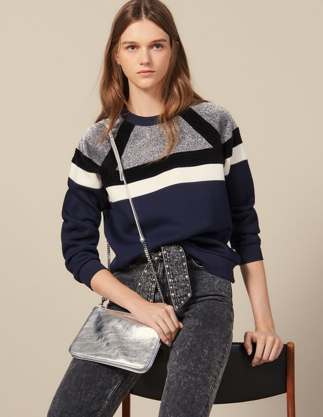 Sweatshirt with stripes : Sweaters & Cardigans color Navy Blue