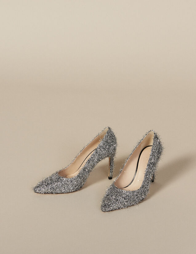 Heeled Shoes With V-Shaped Front : Shoes color Silver