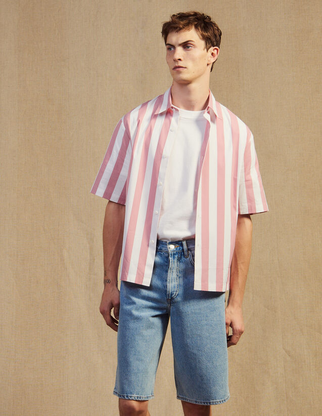 Casual Striped Short-Sleeved Shirt : Shirts color Pink