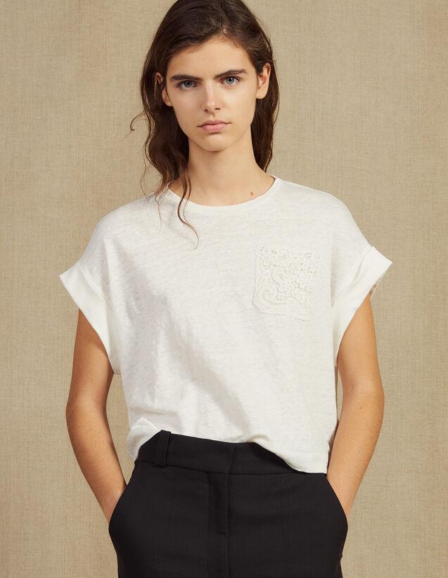 Cropped Linen T-Shirt : Tops & Shirts color Ecru