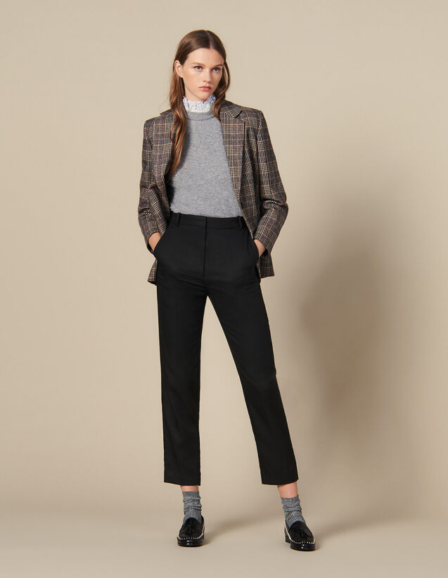 Fitted Pants With Pin Tuck Pleats : Pants & Shorts color Black
