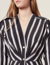 Short Striped Dress With V-Neck : Dresses color Black
