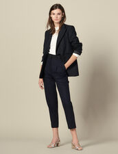 Straight-leg pants with cummerbund : Pants & Shorts color Navy Blue