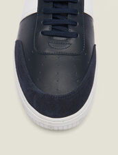 Two-tone leather Sneakers : Shoes color Navy Blue