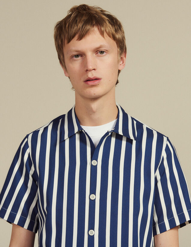 Short-Sleeved Shirt With Stripes : Shirts color Navy Blue