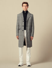 Prince of Wales check straight-cut coat : Coats color Black/White