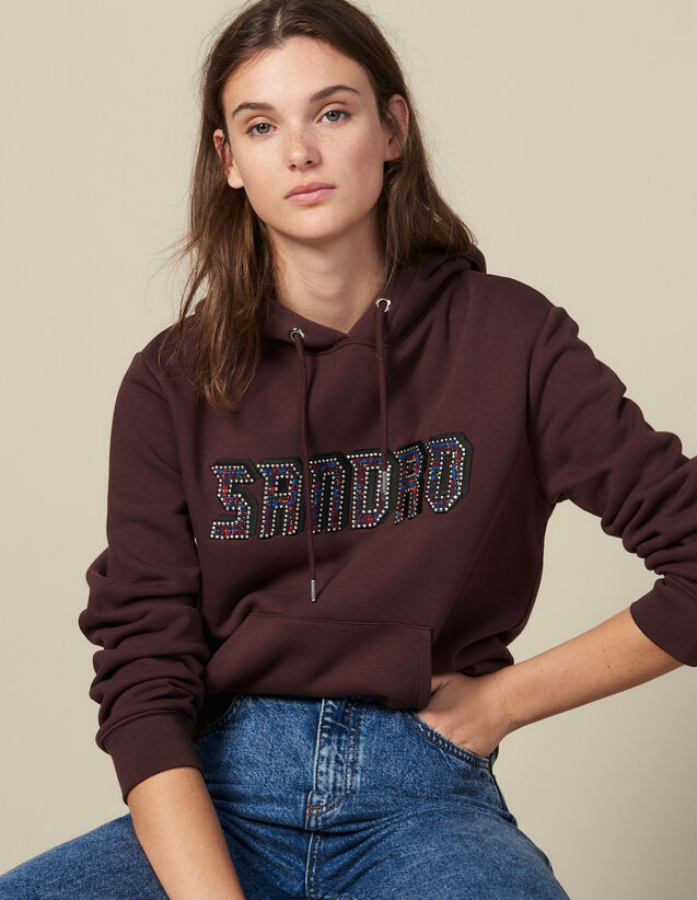 Sweatshirt with Sandro lettering : Sweaters & Cardigans color Bordeaux