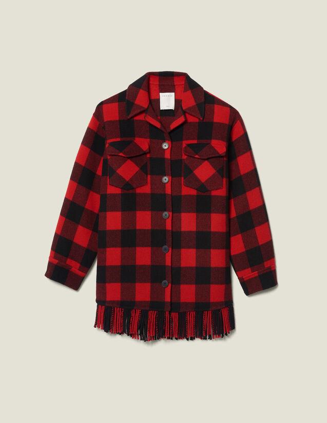 Oversized Shirt Jacket : Coats color Red/Black