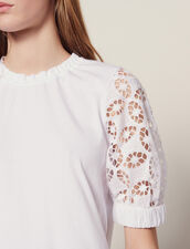 T-Shirt With Lace Sleeves : Tops & Shirts color white