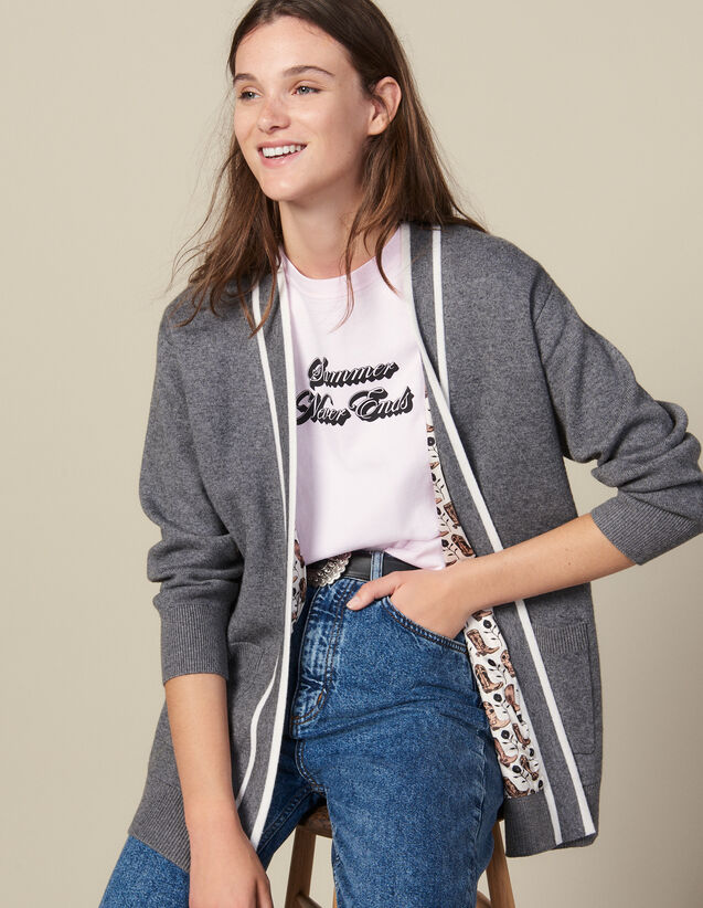 Cardigan With Printed Lining : Sweaters color Grey
